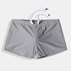 Mens Swimwear Padded Quick Dry Solid Color Beach Fashion Slim Drawstring Swim Trunk