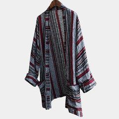 Manica lunga a maniche lunghe stampata vintage a righe stile etnico uomo Open Up Casual Camicia