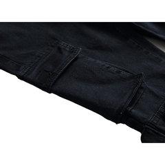 Multi-bolsillo para hombre Carga Pantalones Costura Delgado Pantalones casuales en color liso
