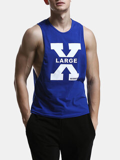 Mens Summer Printed Casual Cotton Vest Fitness Jogging Sport Tank Tops