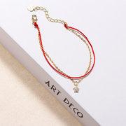 Luxus 925 Sterling Silber Rot Seil Glücksbringer Armbänder Zirkon Sterne Kette Armbänder für Frauen