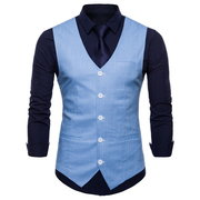 Casual Business Formal Pure Color Único Breasted Vest para Homens