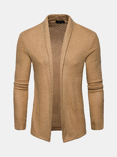 Mens Casual Knit Solid Color Shawl Collar Long Sleeve Slim Fashion Cardigan