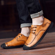 Men Classic Hand Stitching Comfy Soft Lace Up Leather Shoes