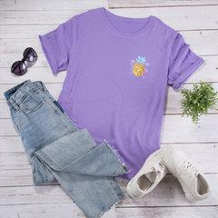 Women's Cotton Short-sleeve Pineapple Print T-shirt