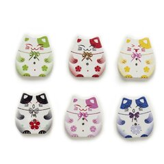50 Pcs Painted Lucky Cat Wooden Buttons Mixed Color Woodwork DIY Garment Sewing Buttons Scrapbooking