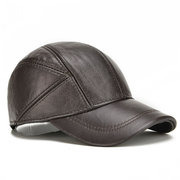 Mens Winter Genuine Leather Baseball Caps With Ear Flaps Outdoor Warm Trucker Adjustable Hats