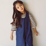 Chic Girls Denim Overall Flare Jeans Sleeveless Kids Summer Spring Autumn Clothing
