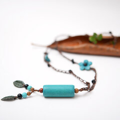 Ethnic Jewelry Dress Necklace Vintage Wood Pendant Leather Flower Tassel Necklaces for Women