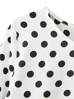 Casual Women Loose Polka Dot Long Sleeve Chiffon T-shirt