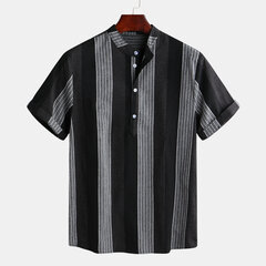 Mens Stripe Patchwork Eté Manches Courtes Mode Slim Fit Chemises Casual Henley