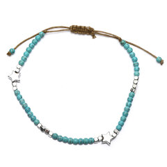 Bohemian Turquoise Beaded Anklet Silver Pentagram Adjustable Anklet Ethnic Jewelry for Women