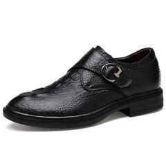 Chaussures habillées en cuir de vache avec velcros pointure large pour homme