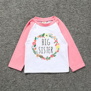 Big Sister Print Toddler Girls Long Sleeve Cotton T-Shirt Tops For 2Y-9Y