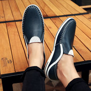 Men Stylish Genuine Leather Stitching Splicing Slip On Casual Loafers