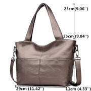 Women Leisure Solid Soft Leather Tote Bag Large Capacity Crossbody Bag