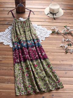 Robe longue à bretelles spaghetti à fleurs imprimée vintage