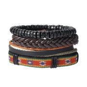 Vintage ajustável Multileayer Trançado Weave Bracelet de couro Pulseira de madeira frisada para homens