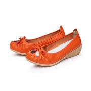 Scarpe in pelle scamosciata floreale bowknot flat casual Soft