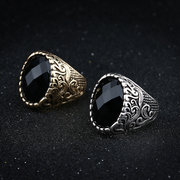 Vintage Men's Finger Ring Black Big Gemstone Punk Ring Steampunk Jewelry for Men