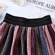 Pleated Girls Striped Skirt Toddlers Kids Casual Cool Clothing For 2Y-9Y