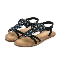 Extra Size Bohemian Clip Toe Rhinestone Flower Lady Sandals