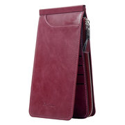 Trifold Men And Women Ultra-thin 26 Card Slot Wallet Solid PU Leather Phone Purse