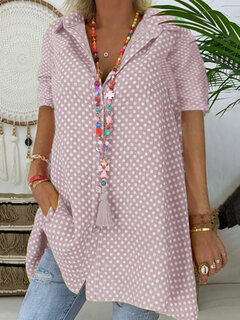 Short Sleeve Casual Polka Dot Blouse For Women