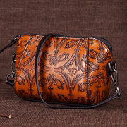 Brenice Genuine Leather Color Hand Brushed Women Shell Messenger Bag Small Embossing shoulder bag