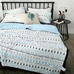 3 / 4Pcs Set biancheria da letto estiva in cotone lavato stile INS Trapunta sottile Soft Copripiumini Federe Queen King