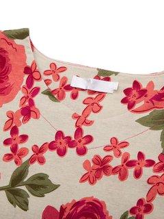 Casual Women Flower Printed V-Neck Split Cotton Linen Blouse