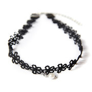 Black Lace Pearl Hollow Flower Choker Necklace
