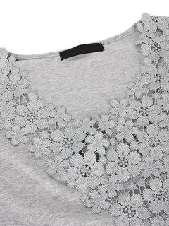 T-Shirt sexy en couleur pure en crochet en patchwork à col en V pour femme