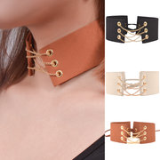 Vintage Choker Necklace Leather Chain Clavicle Collar Necklace