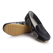Leather Floral Print Color Match Soft Sole Slip On Flat Loafers