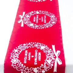 Christmas Linen Tablecloth Christmas Flag Home Party Decorative Elk Tapestry Red Table Runners Cover