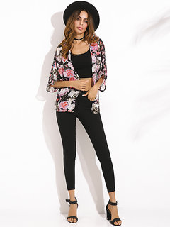 Loose Floral Batwing Short Sleeves Chiffon Cardigans For Women
