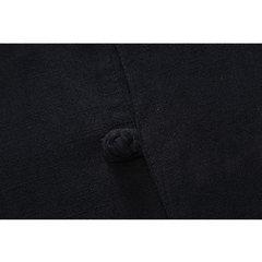 100% algodón para hombre Color sólido vendimia Estilo chino Stand Collar Casual Loose Camisa