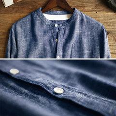 Mens Vintage Solid Colour Stand colletto manica corta allentato monopetto casual Camicia