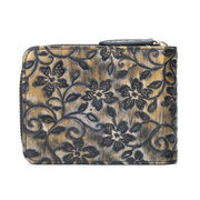 Brenice Embossed Flowers 16 RFID Card Holder Vintage Portable Cowhide Coin Purse