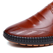 Men Hand Stitching Cow Leather Wear-resistant Casual Shoes
