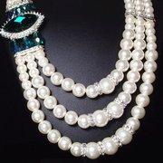 Luxus Damen Perle Hochzeit Schmuck Set Aussage Edelstein Perle Halsketten Ohrringe für Frauen