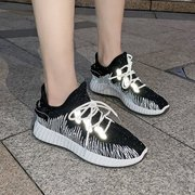 Breathable Sneakers Female Flying Woven Running Casual Shoes Season New Wild Reflective Mesh Coconut Shoes
