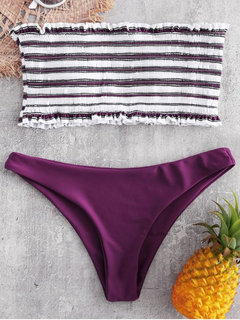 Bandeau High Cut Striped Strapless Sexy Bikinis Swimsuits For Women
