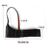 Women Elastic Waist Belts PU Leather Girdle One-side decorative Accessories Lady Belt