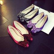 Butterflyknot Shiny Beaded Stone Sweet Pointed Toe Slip On Flat Shoes