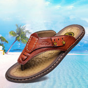 Men Genuine Leather Stitching Non-slip Clip Toe Sandals Casual Slippers