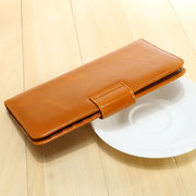 Vintage Wax oil leather Multi-slots Thin Long Wallet 5.5inch Phone Bag Card Holder Purse For Women