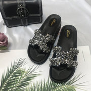 Net Red H Sandals And Slippers Women's Season Sequins Outdoor Sandals And Slippers Soft Bottom Shoes Slippers Women