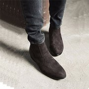 Ankle Black Brown High Casual Short Thick Heel Boots For Men